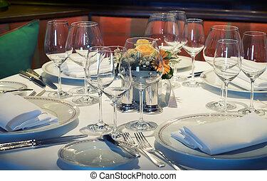 bord, middag, tom, restaurang
