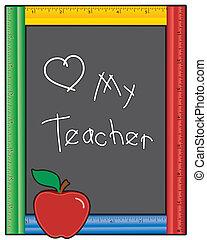 bord, mijn, leraar, liefde, meetlatje