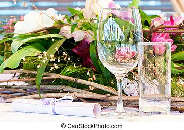 bord, närbild, sätta, catering