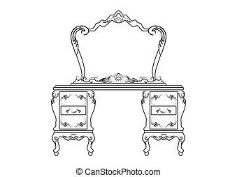bord, påklädning, sätta, spegel