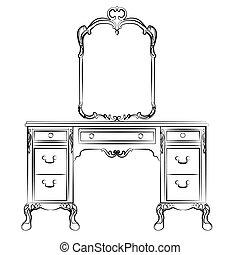 bord, påklädning, spegel