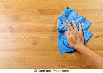 bord, rensning, hand
