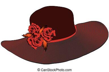 bord, roses, élégant, chapeau, noir, couleurs, femmes, ...