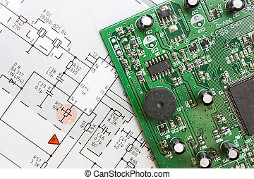 bord, schematisk diagram, elektronisk