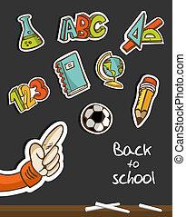 bord, school, hand, back, iconen
