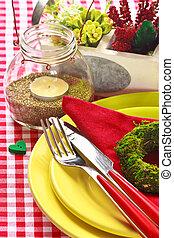 bord, setting., utomhus, trädgård