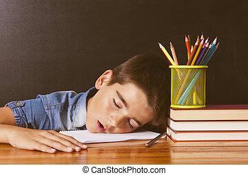 bord, skola, sovande, barn