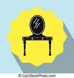 bord, spegel., påklädning