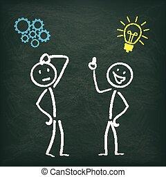 bord, stickman, 2, denken, idee