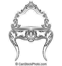 bord, stil, spegel, barock, påklädning