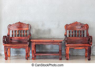 bord, stol, ved, möblemang