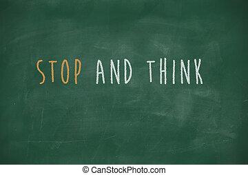 bord, stoppen, denken, met de hand geschreven