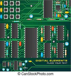 bord, strömkrets, mikrochips