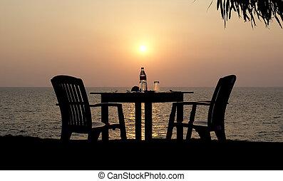 bord, strand, solnedgång, restaurang