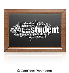 bord, student, leeg