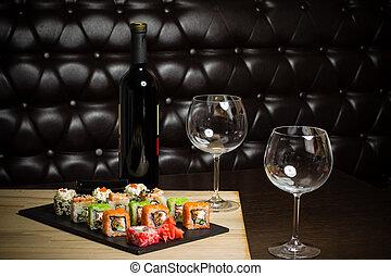 bord, sushi, vin, röd, restaurang