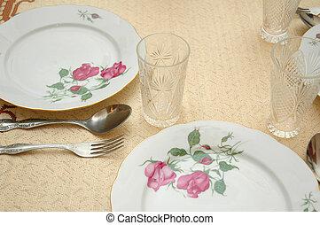 bord, tjänat, restaurang