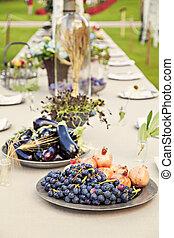 bord, trädgård, bröllop