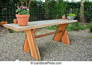 bord, trädgård, trä, vacker