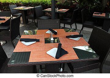 bord, utomhus, inställning, restaurang