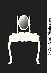bord, vit, påklädning, silhuett, spegel