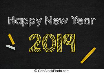 bord, vrolijke , 2019, jaarwisseling