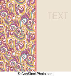 borda, com, abstratos, hand-drawn, ondas, padrão
