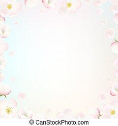 borda, com, macieira, flores