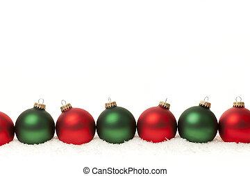 borda, de, verde, e, vermelho, natal, bolas