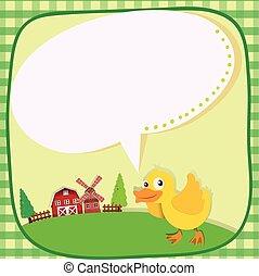 borda, desenho, com, duckling, fazenda