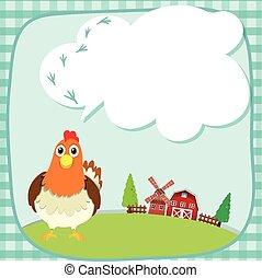 borda, desenho, com, galinha, fazenda