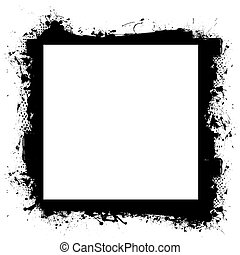 borda, grunge, efeito, pretas