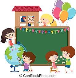 borda, modelo, com, crianças, e, globo