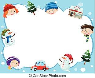 borda, modelo, com, crianças, em, tempo inverno