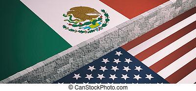 borda, nós, méxico, américa, parede, entre, flags., ilustração, 3d