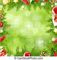 borda, natal, borrão, árvore