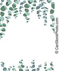 borda, quadro, branca, eucalipto, experiência.