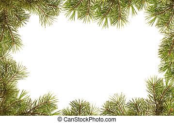 borda, quadro, de, árvore natal, ramos