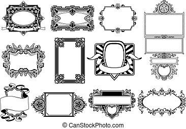borda, quadro, elementos, desenho, ornate