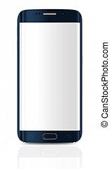 borda, tela, smartphone, em branco