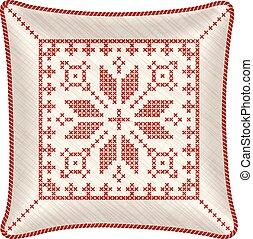 bordado, almohada, navidad