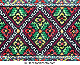 bordado, bom, por, cruz-ponto, pattern., ukrainian, étnico,...