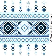 bordado, ornamento, azul, vector., belorussian, viejo, como, pattern., étnico, hechaa mano, punto de cruz, invierno, bueno