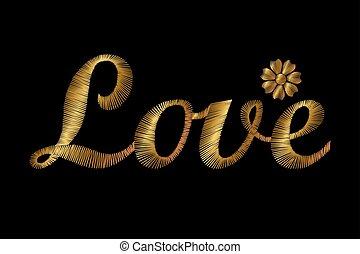 bordado, oro, brillante, palabra, amor