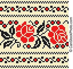 bordado, pauta flor, cruz, stich