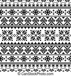 bordado, seamless, inpired, arte, punto de cruz, ornamento, gente, vector, negro, patrón, ucranio, -, belarusian, blanco, vyshyvanka
