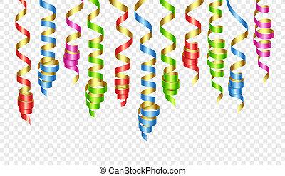 bordage, couleur, banderoles, illustration, vecteur, décorations, ribbons., fête, ou