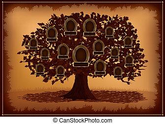 bordas, árvore, leafs., família, vetorial