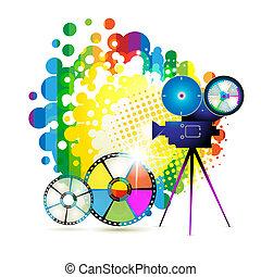 bordas, círculo, película câmera