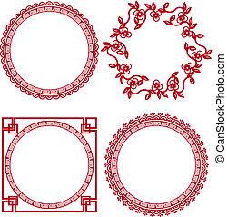 bordas, chinês, ornamental